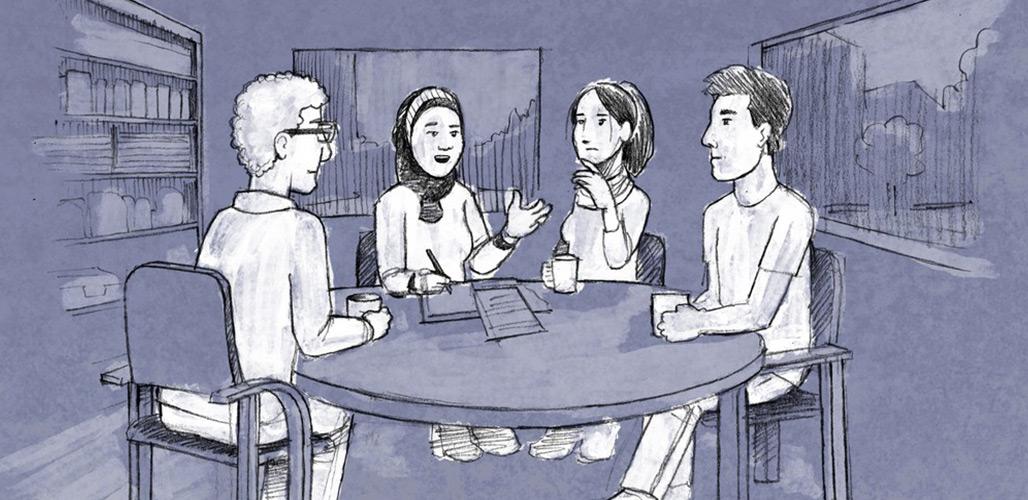 Wijkteams signaleren - gezin in gesprek met wijkteam professionals